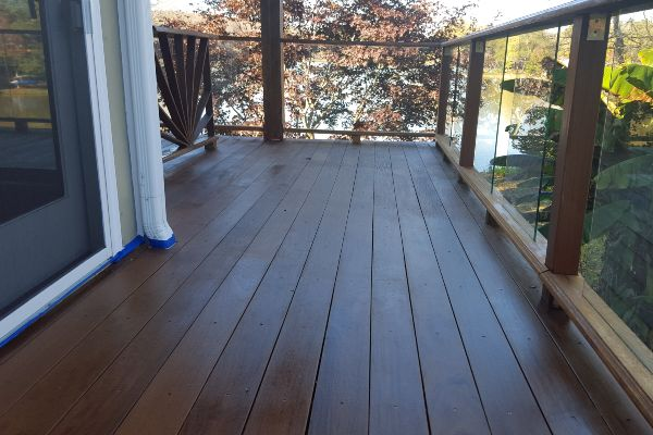 Stunning deck on a beautiful property.