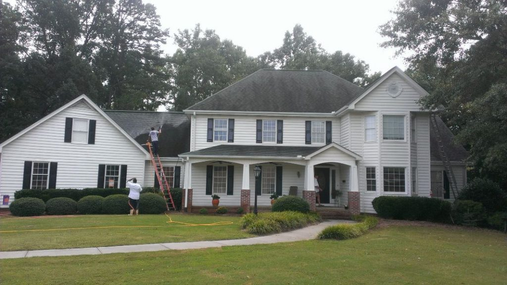 Removing those pesky black streaks from a roof.