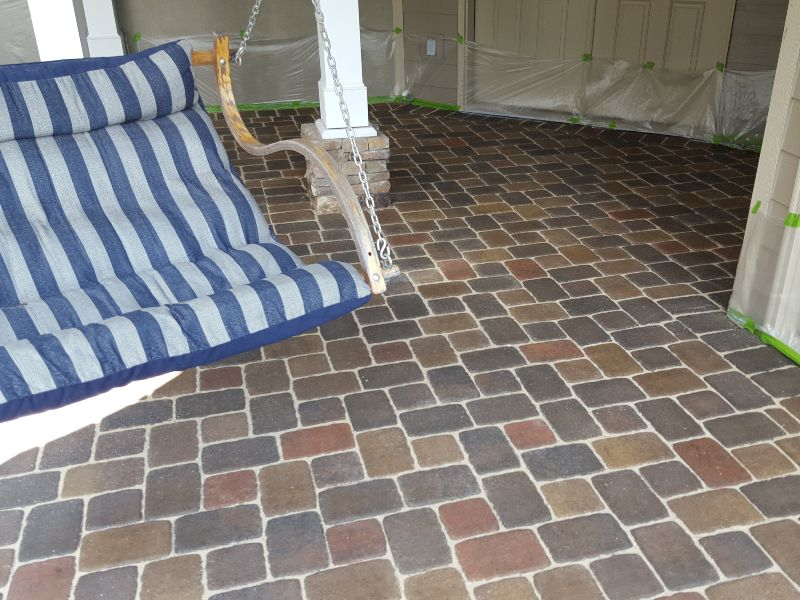 A newly cleaned paver job at a residential home.