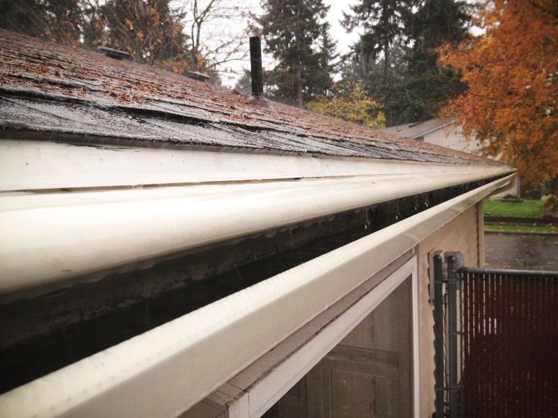 Moss on a roof and rain falling into gutters.