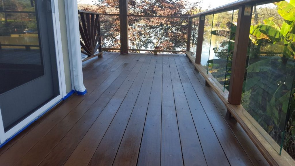 A beautiful wood deck with a fresh coat of stain.