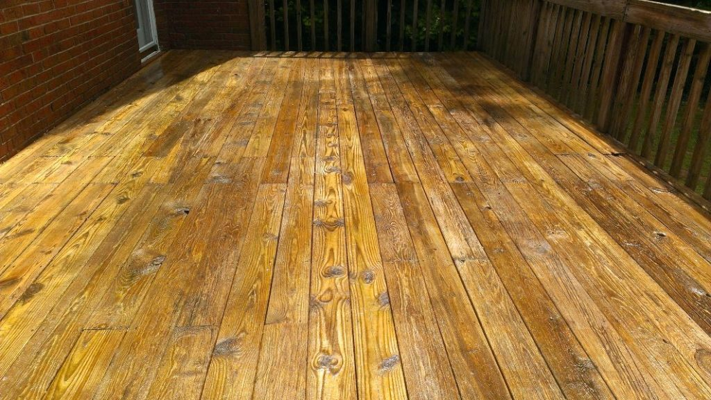 A newly cleaned deck. Bring your wood back to life.