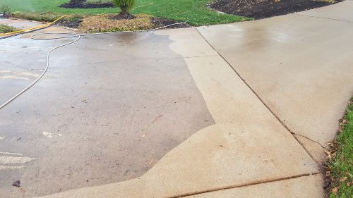 The results are crazy. Before and after concrete cleaning.