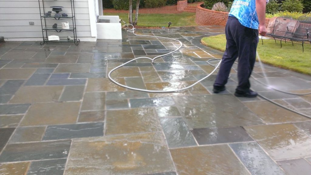 During a pressure washing service at a residential home.