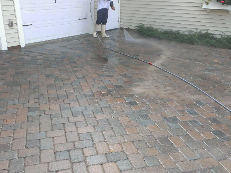 During a paver cleaning job on a residential property.