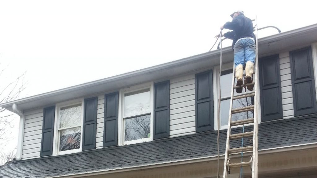 Gutter cleaning after is followed up by flushing your downspouts.