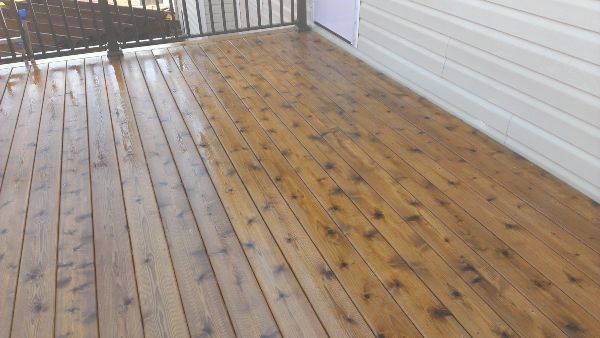 Up close look at a freshly cleaned and stained deck.