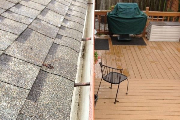 After gutter cleaning. Clean and pristine gutters.